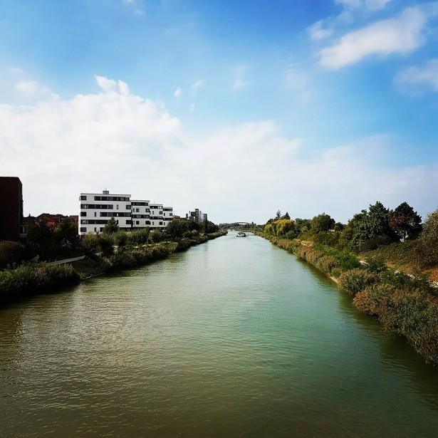 हॅनोव्हर मधली आमच्या घराजवळची नदी Noltemeyerbrücke